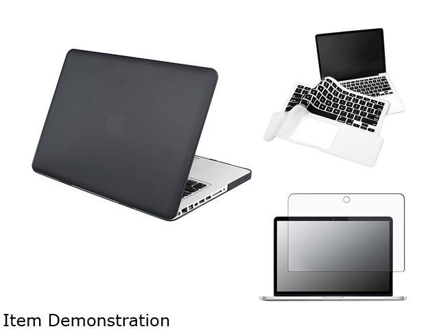 Insten Matte Screen Protector + Black Rubberized Hard Case + Clear/Black Keyboard Cover Skin For Apple MacBook Pro 13-inch