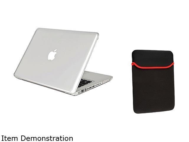 Insten Clear Hard Case + Black Sleeve Bag Bundle For Apple MacBook Pro 13-inch