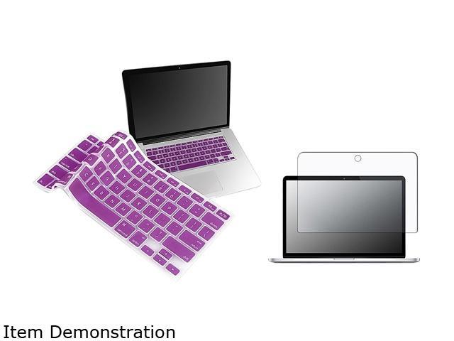 Insten Matte Screen Protector + Purple Silicone Keyboard Cover Skin Bundle For Apple MacBook Pro 13-inch