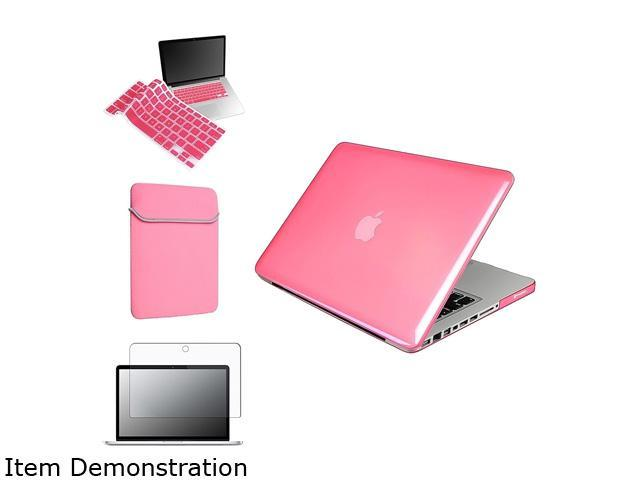 Insten Pink Rubberized Case + Keyboard Cover + Screen Protector + Sleeve Case For Apple MacBook Pro 13-inch