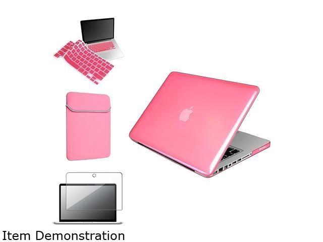 Insten Pink rubberized Case Cover + Keyboard Cover + Screen Protector + Sleeve Case For Apple MacBook Pro 13-inch