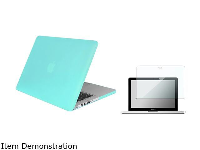 Insten Turquoise Rubberized Hard Case + Screen Protector For Apple Macbook Pro with Retina Display 13-inch