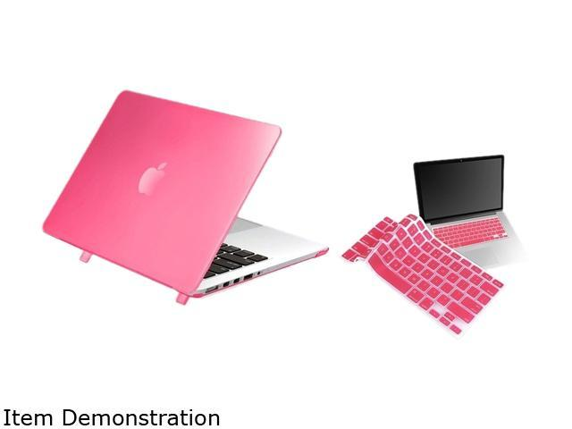 Insten Pink Ultra-thin Hard Rubberized Case + Silicone Keyboard Cover Skin For Apple Macbook Pro with Retina Display 13-inch