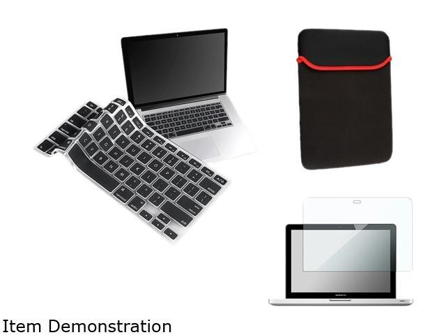 Insten Clear Screen Protector + Black Keyboard Shield Cover + Sleeve for Macbook Pro 13