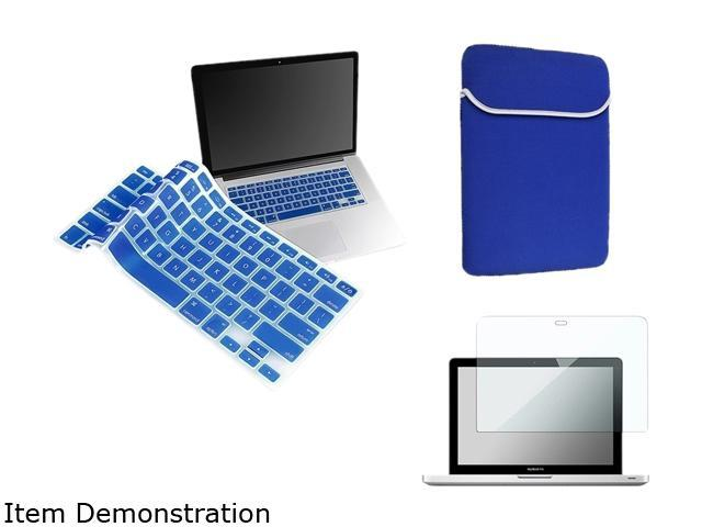 Insten Clear Screen Protector + Blue Keyboard Cover + Sleeve Bag for Macbook Pro 13