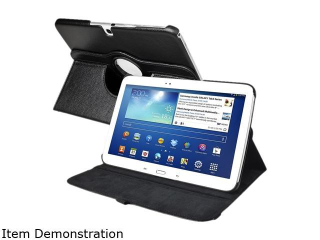 Insten 1901919 360 Rotating Swivel Folio Stand Leather Case for Samsung Galaxy Tab 3 10.1 P5200 / P5210 / P5220, Black
