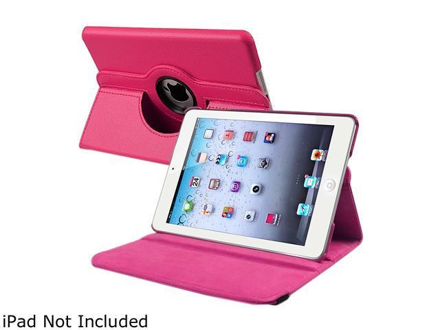 Insten 1901655 360 Rotating Swivel Folio Stand Leather Case for Apple iPad Mini 1/ Apple iPad Mini with Retina Display (iPad Mini 2)/ Apple iPad Mini 3, Hot Pink