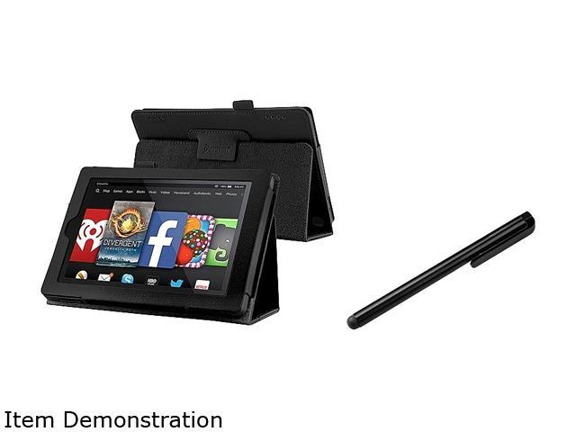 Insten Black Folio Stand Leather Case Cover with Black Stylus Pen for Amazon Kindle Fire HD 7