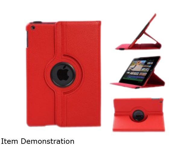 WXG Red Red. 360 Rotating Folio Leather Ultra Smart Stand Case Cover for Apple iPad Air/Air 2 Bulk Model FOLIOAIR2RD