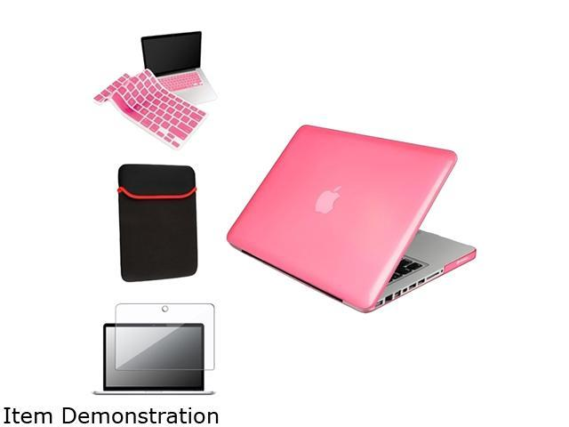 Insten Pink Crystal Cover + Screen Protector + Keyboard Skin + Sleeve Case For Macbook Pro 13.3