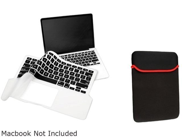 INSTEN Black Sleeve Case + Keyboard Full Skin Shield Compatible with Apple Macbook Pro 13 inch