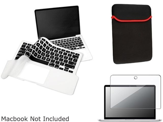 INSTEN Black Sleeve Case + Keyboard Full Skin Shield + Clear Screen Protector Compatible with Apple Macbook Pro 13 inch