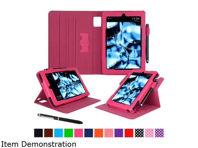 roocase Dual View PU Leather Folio Case Smart Cover Stand for Amazon Fire HD 7 (2014), Magenta