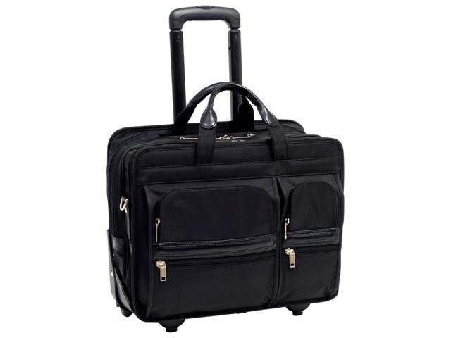 "McKlein Black 17"" CLINTON Detachable-Wheeled Laptop Case Model 58445"