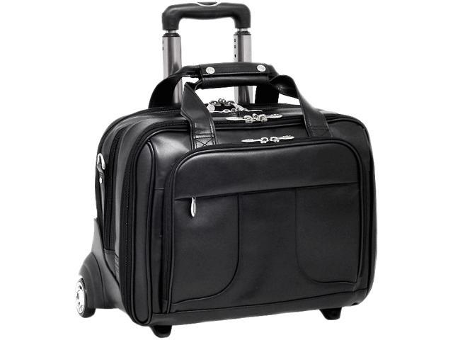 """McKlein Black 17"""" CHICAGO Detachable-Wheeled Laptop Overnight with Removable Briefcase Model 83585"""