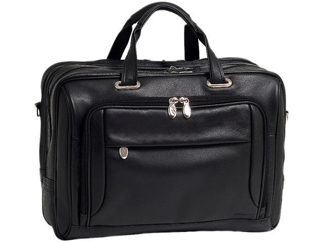 "McKlein Black 17"" WEST LOOP Expandable Double Compartment Briefcase Model 44575"