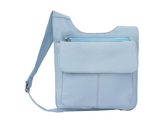 Piel LEATHER 2006-PB Slim Line Mail Bag Pastel Blue