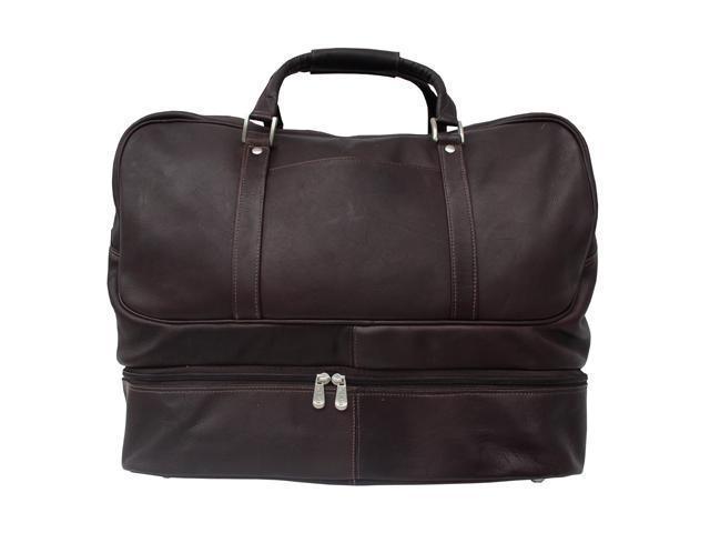 Piel LEATHER 8965-CHC Chocolate False-Bottom Sports Bag