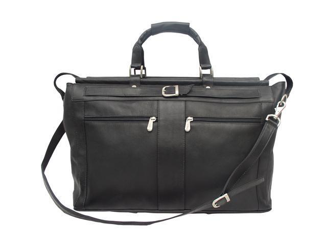 Piel LEATHER 9506-BLK Black Carpet Bag with Pockets