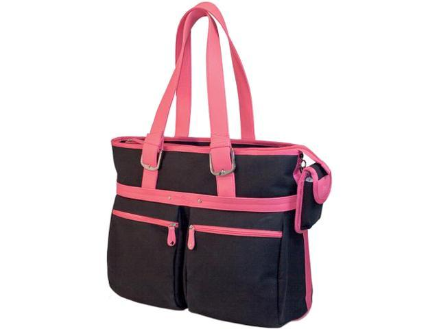 "Mobile Edge Black/Pink Komen Eco-Friendly Canvas Laptop Tote - 16"" PC/17"" MacBook Model MECTEK1"