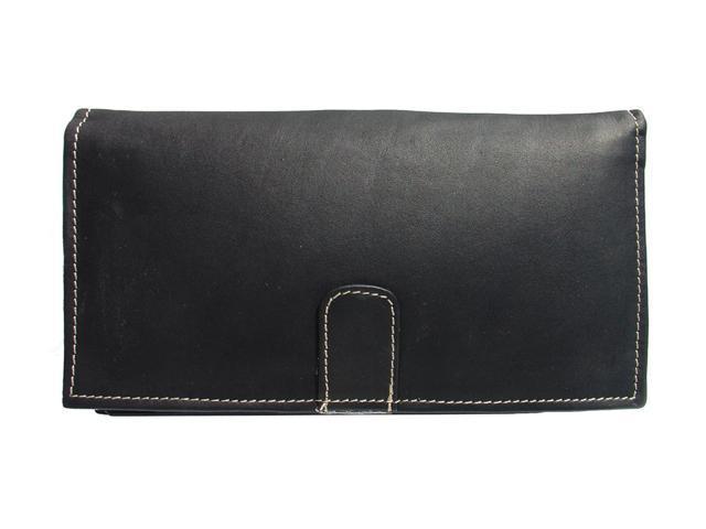 Piel LEATHER 2600-BLK Black Deluxe Ladies Wallet