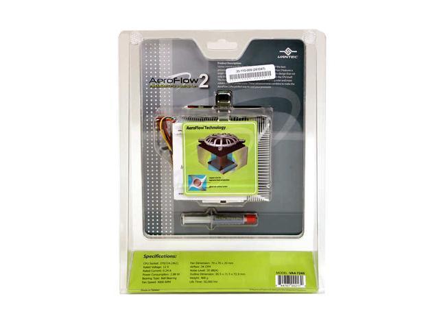 Vantec AeroFlow 2 70mm Cooling Fan With Copper Core and 4-way Aluminum Fins for Socket 7/370/A(462) - Model VA4-7245