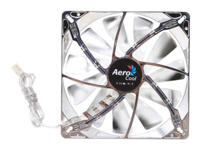 AeroCool Streamliner-Silver 140mm Blue LED Case Cooling Fan