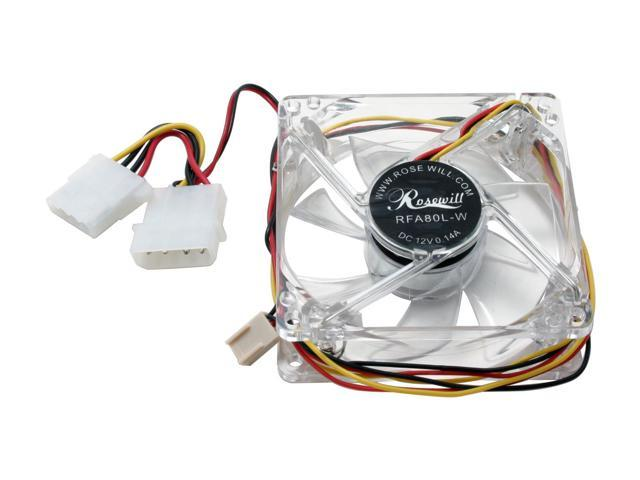 Rosewill RFA80L-W 80mm White LED Case Cooling Fan