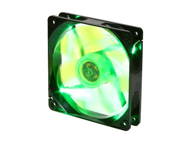 APEVIA  CF12SL-BGN  120mm UV green LED fan w/3-pin and 4-pin connectors and black grill
