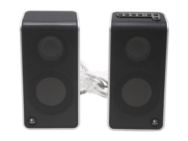 Logitech V20 2 Watts (1W + 1W) into 4 ohms at 1 kHz at 10% total harmonic distortion (THD) 2.0 Notebook Speakers