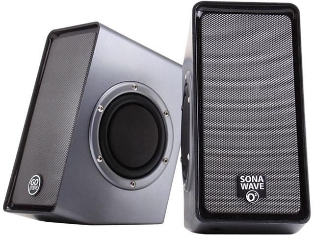 GOgroove SonaVERSE O2 USB Powered Computer Speakers with Dual Side-Firing Passive Woofers for Laptops, Mac, Notebooks, Netbooks, Desktops and More PCs