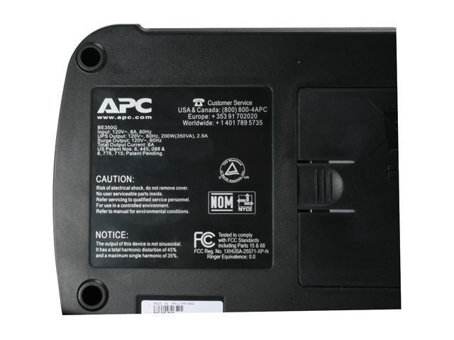 APC Back-UPS ES BE350G 350 VA 200 Watts (3) NEMA 5-15R (Battery Backup) (3) NEMA 5-15R (Surge Protection) Outlets UPS