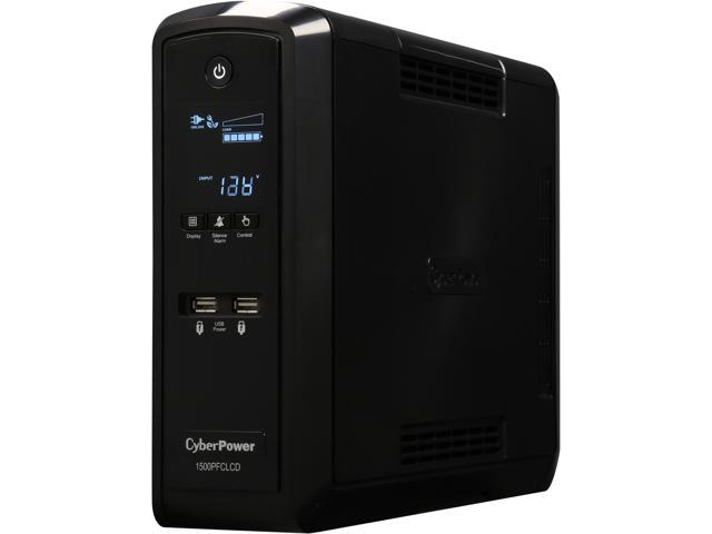 CyberPower CP1500PFCLCD - PFC Sinewave UPS Systems - Pure Sine Wave | 100% Active PFC Compatible with USB Charging Ports