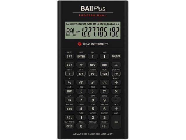 Texas Instruments BAII Plus Professional Calculator - 10 Digit(s) - Battery Powered - 1.3