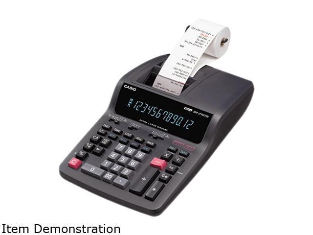 Casio DR270TM DR-270TM Two-Color Desktop Calculator, 12-Digit Digitron, Black/Red