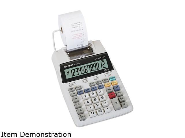 Sharp EL1750V EL1750V LCD Two-Color Printing Calculator, 12-Digit LCD, Black/Red