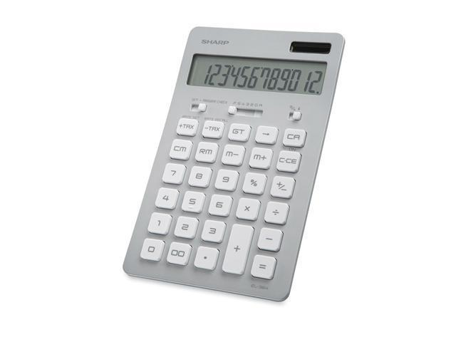 Sharp EL364BSL 12 Digit Slim Design Calculator - Silver