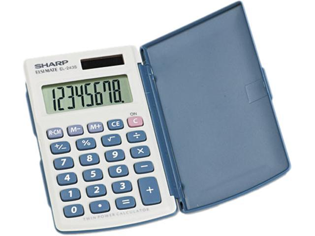 Sharp EL243SB EL-243SB Solar Pocket Calculator, 8-Digit LCD