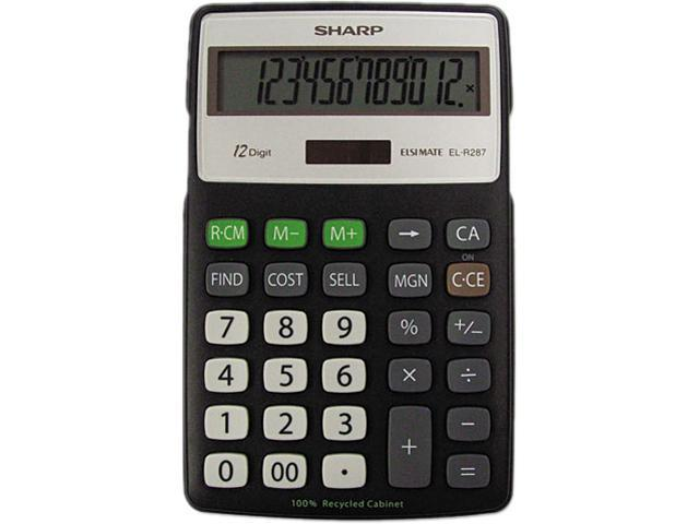 Sharp ELR287BBK EL-R287BBK Recycled Series Calculator w/Kick-stand, 12-Digit, LCD, Black