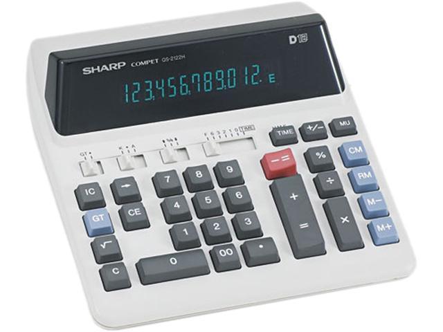 Sharp QS2122H QS-2122H Compact Desktop Calculator, 12-Digit Fluorescent