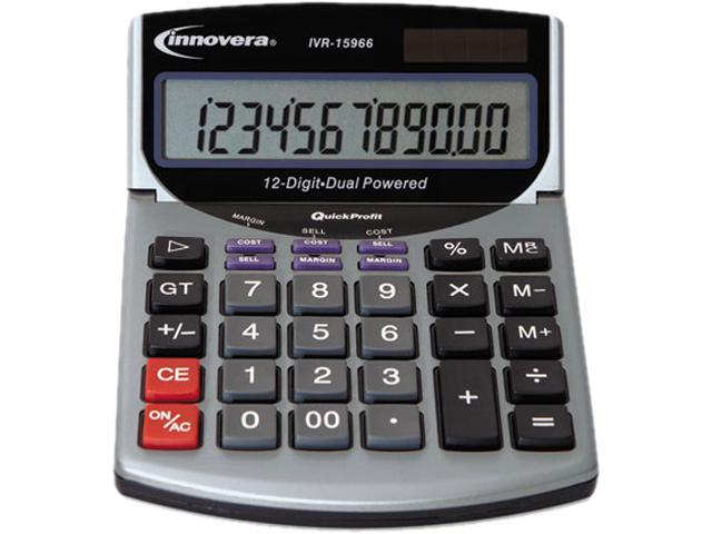 Innovera 15966 15966 Compact Desktop Calculator, 12-Digit LCD