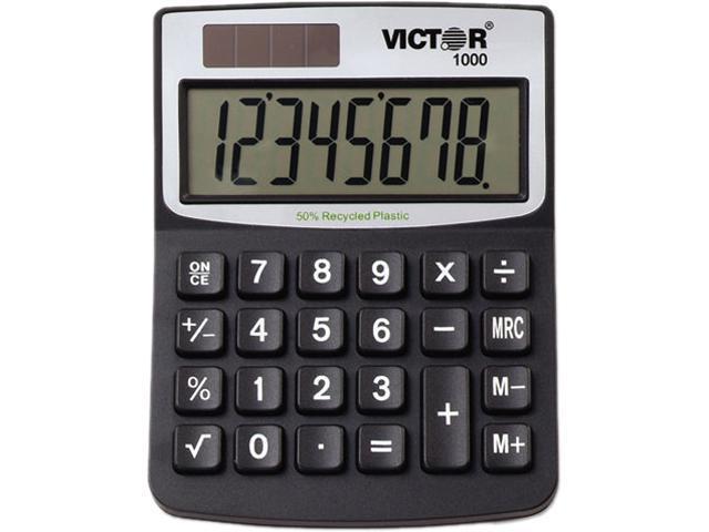Victor 1000 1000 Minidesk Calculator, Solar/Battery, 8-Digit Display, Black