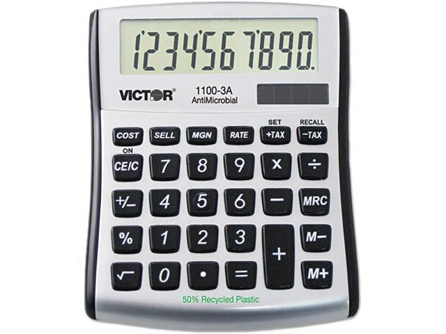 Victor 1100-3A 1100-3A Antimicrobial Compact Desktop Calculator, 8-Digit LCD