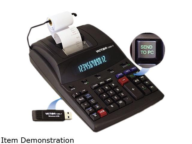 Victor 1280-7 12 Digit Heavy Duty Commercial Printing Calculator with Wireless Data Relay, Black