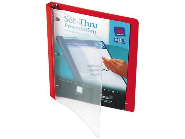 "Avery 10803 See-Thru Presentation Binder, Round Ring, 1/2"" Capacity, Red"