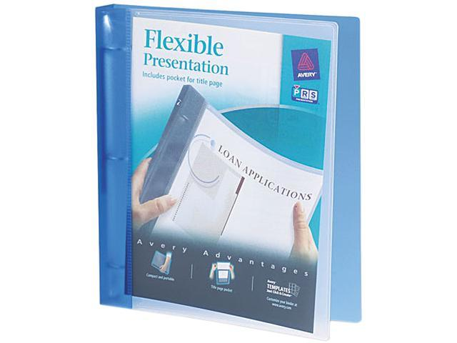 "Avery 17675 Flexible Round Ring Presentation Binder, 1"" Capacity, Blue"