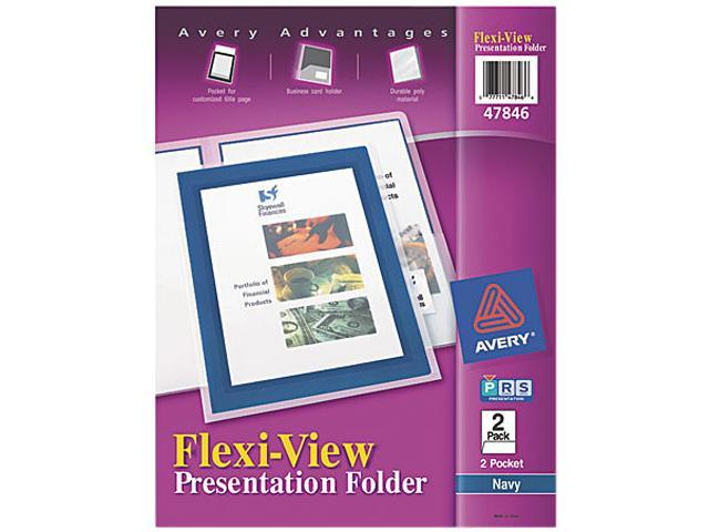 Avery 47846 Flexi-View Two-Pocket Polypropylene Folders, Navy/Translucent, 2/Pack