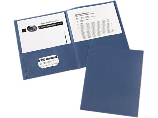 Avery 47985 Two-Pocket Portfolio, Embossed Paper, 30-Sheet Capacity, Dark Blue, 25/Box