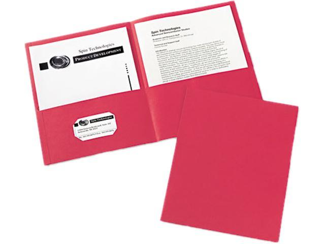 Avery 47989 Two-Pocket Embossed Paper Portfolio, 30-Sheet Capacity, Red, 25/Box