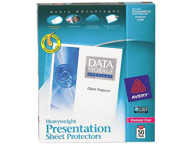 Avery 74106 Top-Load Poly Sheet Protectors, Heavy Gauge, Letter, Diamond Clear, 50/Box